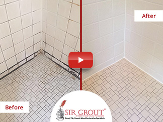 Before and After Picture of a Tile Cleaning Job in Phoenixville, Pennsylvania