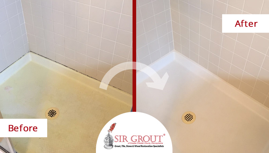 Before and After Picture of Bathroom Caulking Service in Collegeville, Pennsylvania