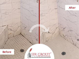 Before and After Picture of a Marble Stone Shower Cleaning Job in Gladwyne, Pennsylvania