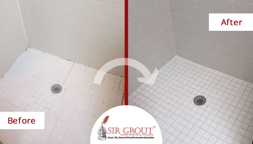 Before and After Picture of a Shower Grout Sealing Service in Chester Springs, PA
