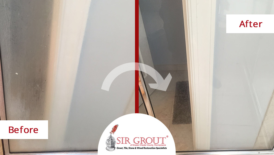 Before and After Picture of a Grout Sealing Service in Chester Springs, PA - Bathroom Doors