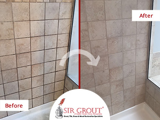 Before and After Picture of a Grout Sealing Job in Chester Springs, Pennsylvania