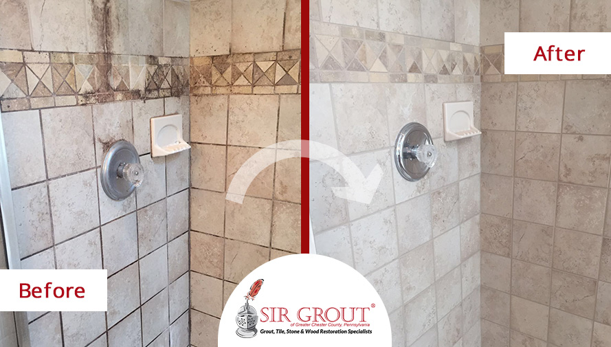 Before and After Picture of a Grout Cleaning in Chester Springs, Pennsylvania