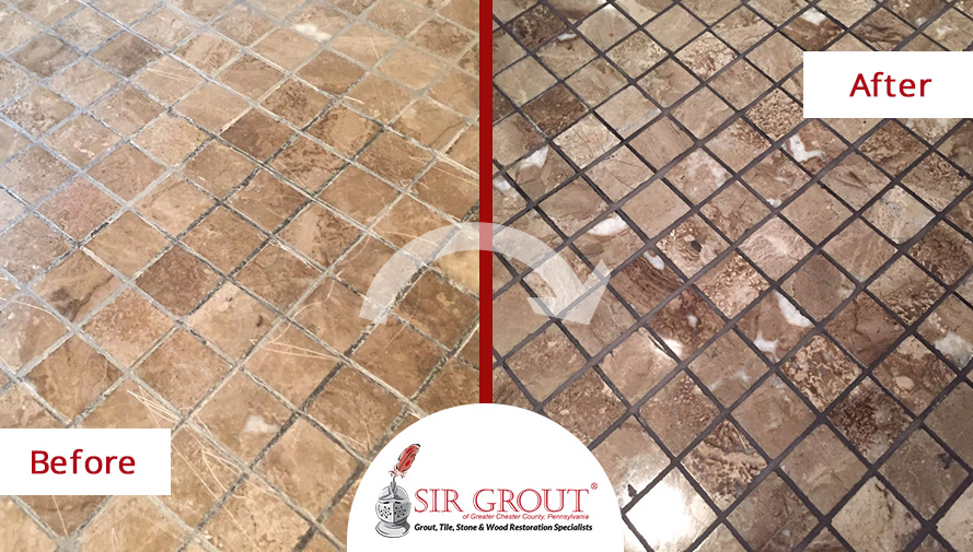 Before and After of a Marble Shower Floor Grout Recoloring Service in Wayne, PA