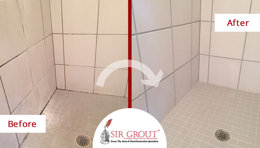 Before and After Picture of a Grout Cleaning Service on a Moldy Shower in Exton, PA