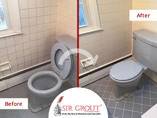 Before and After Picture of a Bathroom Grout Cleaning Service in Phoenixville, PA