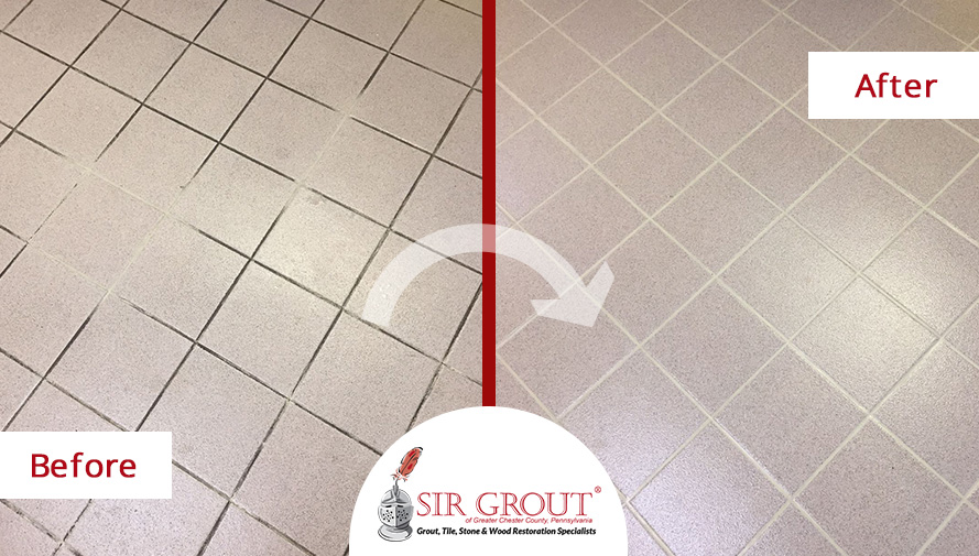 Before and After Picture of a Restroom's Floor Grout Cleaning Service in Paoli, PA