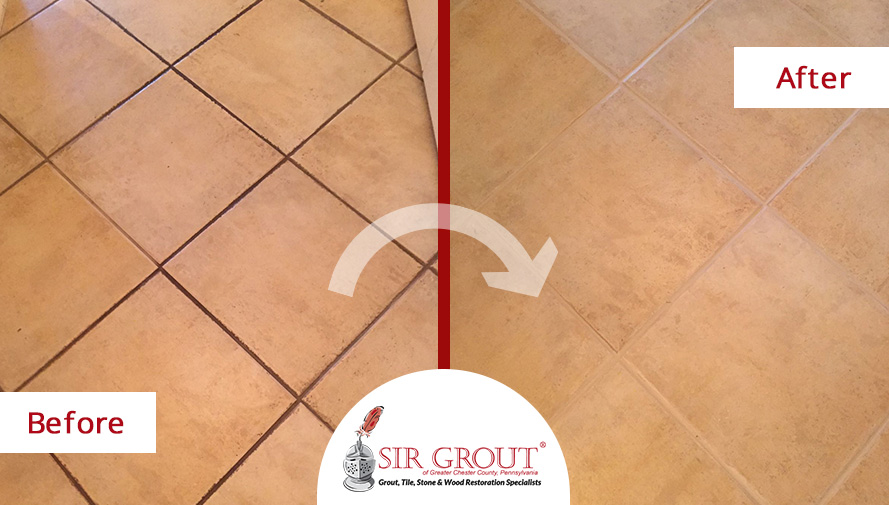 Before and After Picture of a Tile Grout Cleaning Service in Berwyn, PA