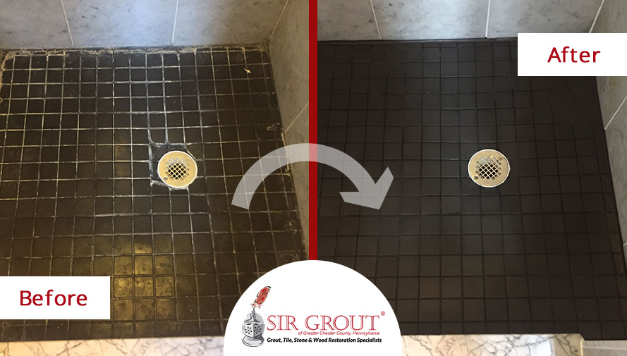Before and After Picture of a Tile Cleaning Service in Bryn Mawr, PA