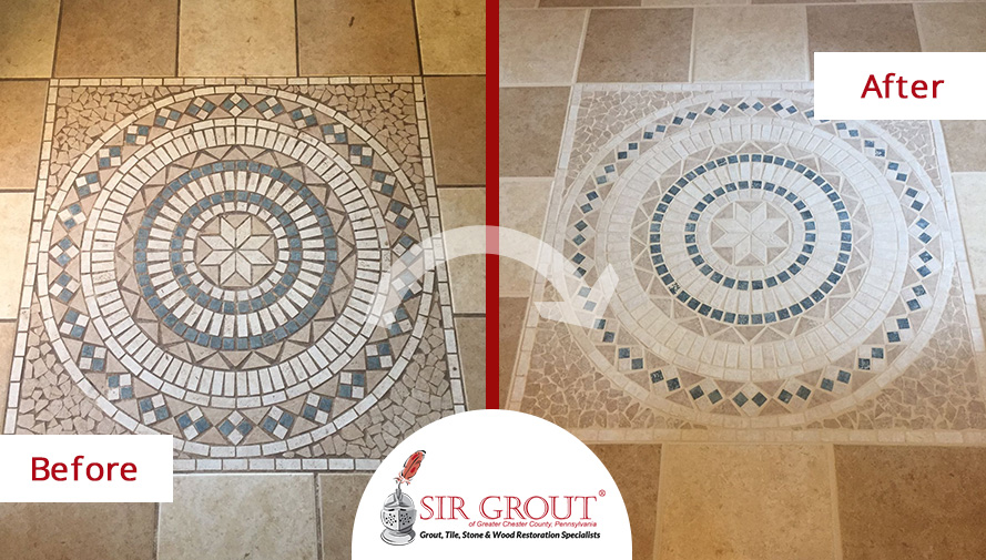 Before and After Picture of a Floor Stone Cleaning Service in Pottstown, PA