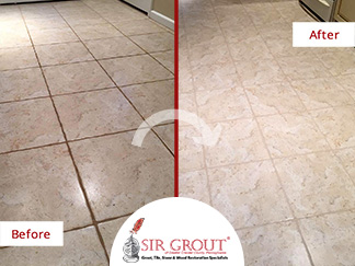 Before and After of a Tile Floor Grout Cleaning Service in Devon, Pennsylvania