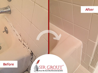 Before and After Picture of a Tile Cleaning and Caulking Services in Exton, PA