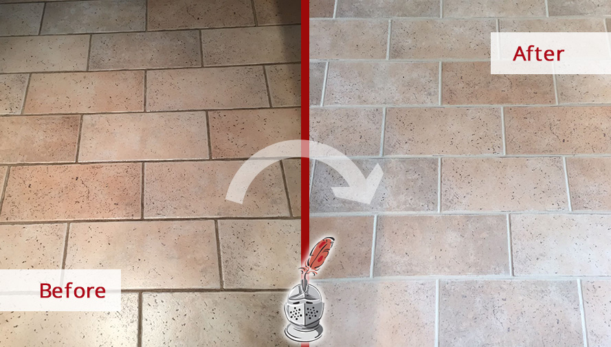 Before and After Picture of a Grout Cleaning Service in Berwyn, PA