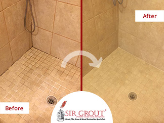 Before and After Picture of a Shower Grout Cleaning Service in Wayne, Pennsylvania