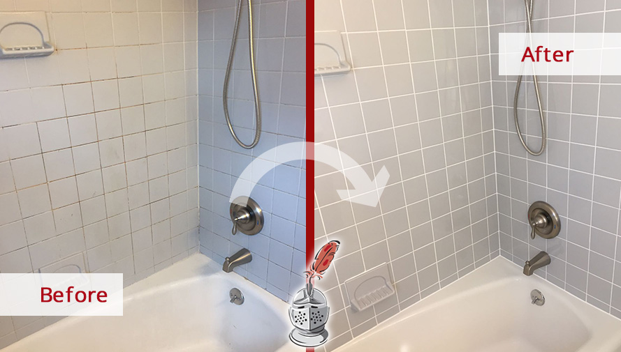 Before and After Picture of a Tile and Grout Cleaning in Drexel Hill, PA