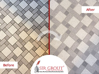Before and After Picture of a Bathroom Tile and Grout Cleaning in Drexel Hill, PA