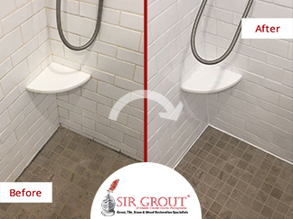 Before and After Picture of Ceramic Tile Shower Caulking Service in Villanova, PA