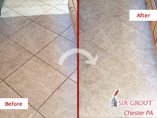 Before and after Picture of This Grout Cleaning Job Done in Pottstown, PA