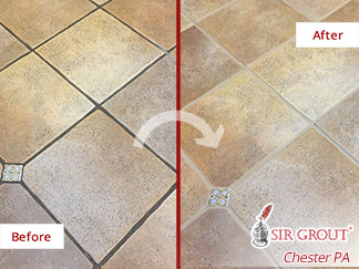 Before and after Picture of a Grout Cleaning Job Done in Just One Day in Narberth, PA