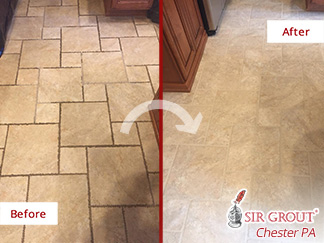 Before and after Picture of This Grout Cleaning Job in Collegeville, PA, That Restored the Beauty of This Floor