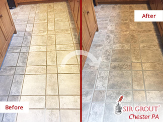 Before and after Picture of This Kitchen Floor in Coatesville, PA