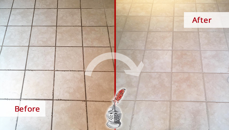 Before and after Picture of This Kitchen Floor after Our Grout Cleaning Service in Downingtown, Pennsylvania