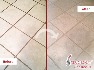 Before and after Picture of This Ceramic Floor after Our Grout Cleaning Service in Downingtown, PA