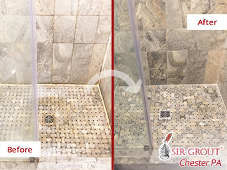 Before and after Picture of Our Stone Cleaning Service to This Natural Stone Shower in Royersford, PA