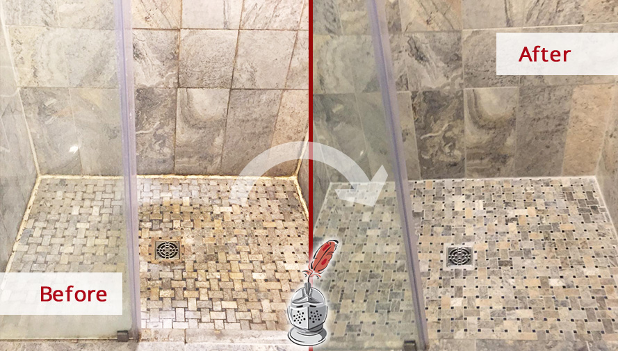 Before and after Picture of This Natural Stone Shower after Our Stone Cleaning Service in Royersford, PA