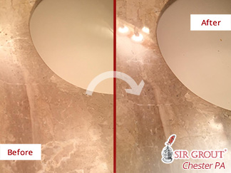 Before and after Picture of This Marble Vanity Top after a Stone Polishing Service in Bryn Mawr, PA