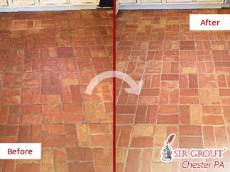 Before and after Picture of This Terracotta Floor after a Stone Cleaning Service in Gladwyne, PA
