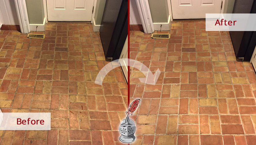 Before and after Picture of This Floor after a Stone Cleaning Job in Gladwyne, PA