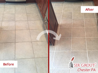 Before and after Picture of This Kitchen Floor after a Grout Cleaning Job in Malvern, PA