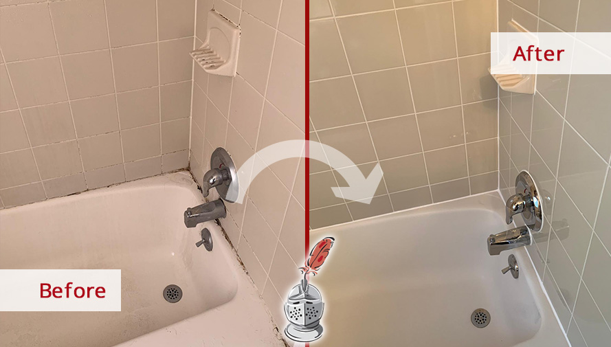 Before and after Picture of This Shower after a Caulking Service in Exton, PA