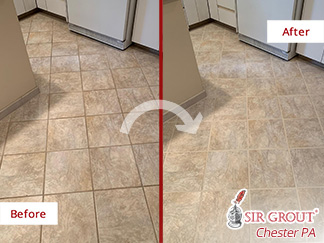 Before and after Picture of a Tile and Grout Cleaning Job in Gladwyne, PA