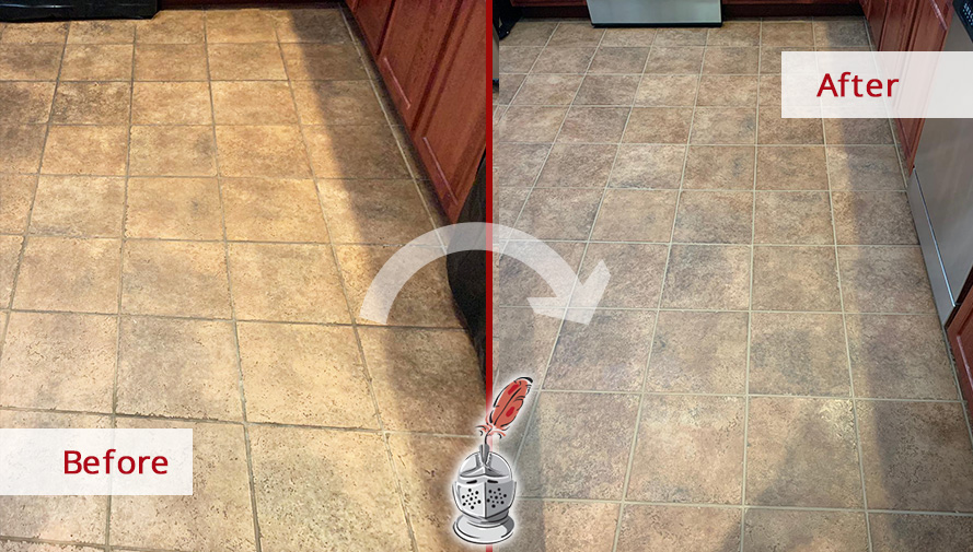 Before and After Picture of This Kitchen Floor After a Tile and Grout Cleaning Job in Conshohocken, PA