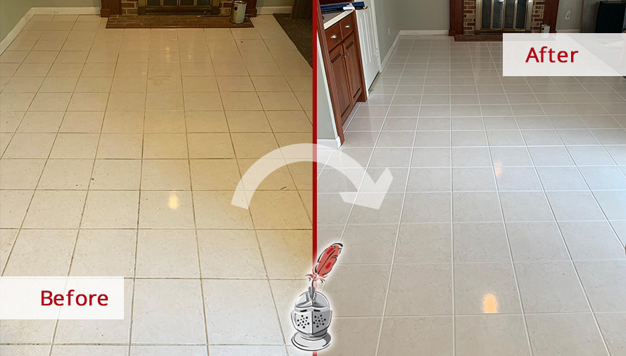 Before and After Picture of This Floor After a Tile and Grout Cleaning Job in Downingtown, PA