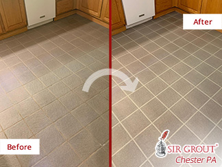 Before and After Picture of a Tile Cleaning Job in Pottstown, PA