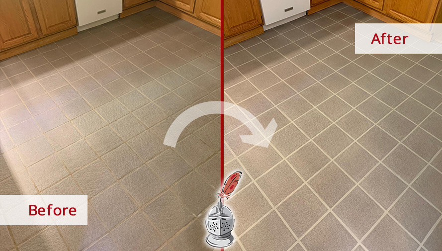 Before and After Picture of a Tile Cleaning Service in Pottstown, PA