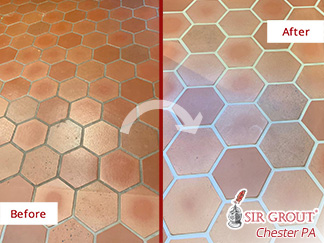 Before and After Picture of This Terracotta Floor in Newtown Square, PA