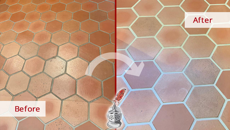Before and After Picture of This Kitchen Floor Grout Sealing Process