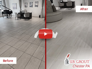 Before and After Picture of a Grout Cleaning Process in Phoenixville, PA