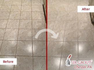 Before and After Picture of a Grout Cleaning Process in Devon, PA