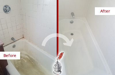 Picture of a White Tub with Damaged Caulking Before and After a Tub Recaulking Service