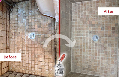 Before and After Picture of Shower Grout Cleaning and Sealing