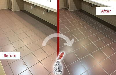 Before and After Picture of a Arcola Restrooms Tile and Grout Cleaned to Remove Embedded Dirt