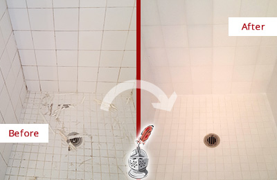 Before and After Picture of a Arcola Bathroom Re-Caulked To Repair Damaged Caulking