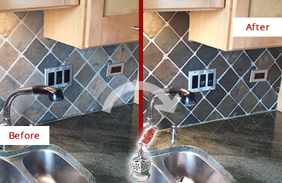 Before and After Picture of a Arcola Backsplash Caulked to Fix and Prevent Water Leaks