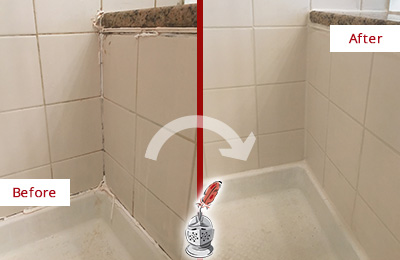 Before and After Picture of a Arcola Shower Caulked to Repair Damaged Caulking