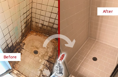 Before and After Picture of a Arcola Shower Caulked to Fix and Prevent Water Damage